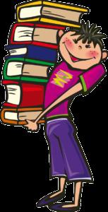 Garçon portant une pile de livre