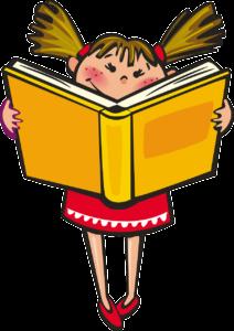 Petite fille avec un livre ouvert