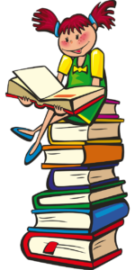 Petite fille assise sur une pile de livre et lisant